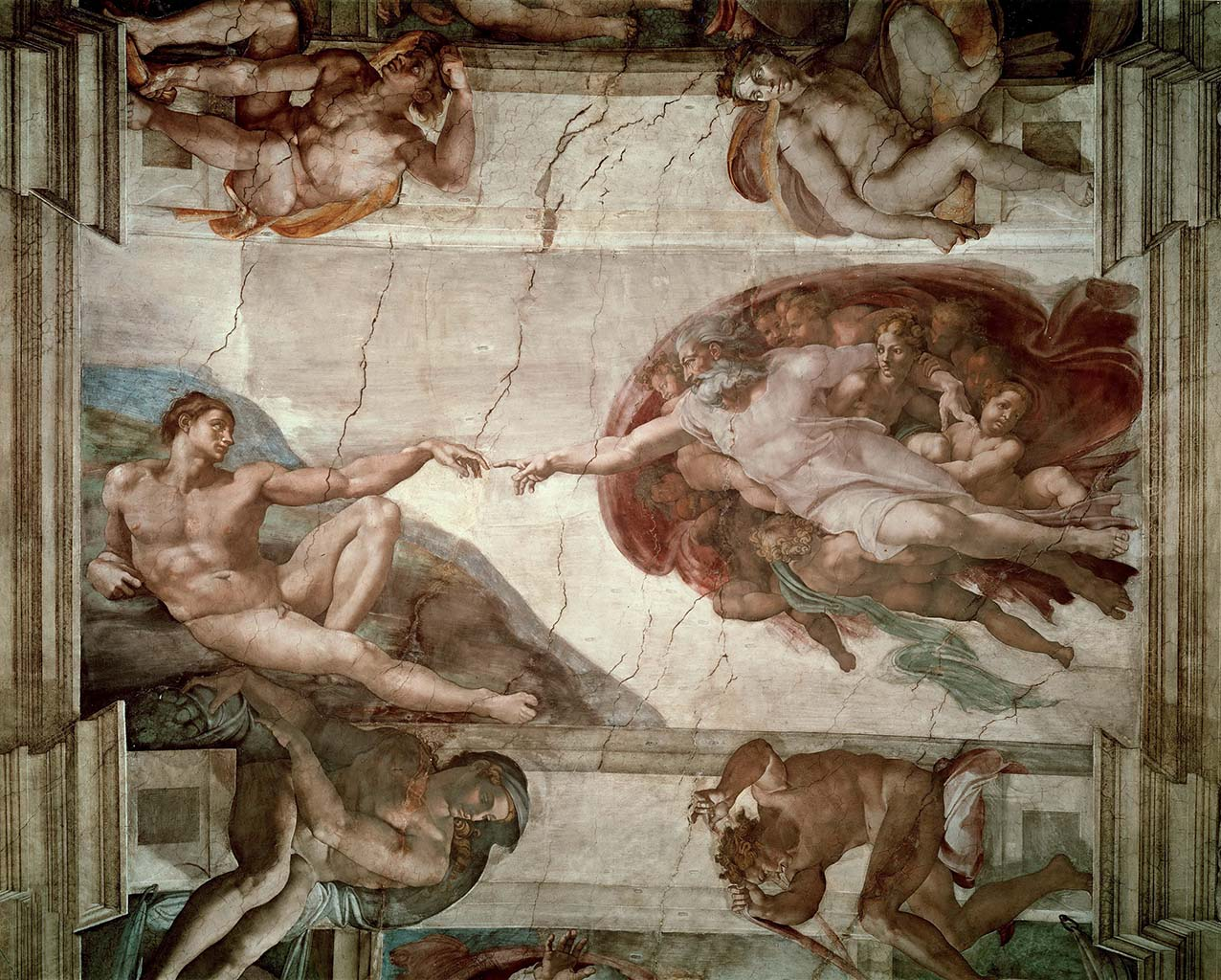 """Микеланджело Буонарроти (Michelangelo Buonarroti), """"Сотворение Адама (Фреска)"""""""