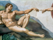 "Микеланджело Буонарроти (Michelangelo Buonarroti), ""Сотворение Адама (фрагмент фрески)"""