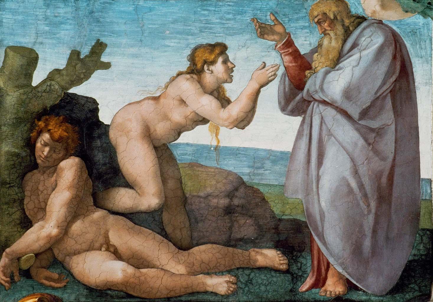 """Микеланджело Буонарроти (Michelangelo Buonarroti), """"Сотворение Евы (фрагмент фрески)"""""""