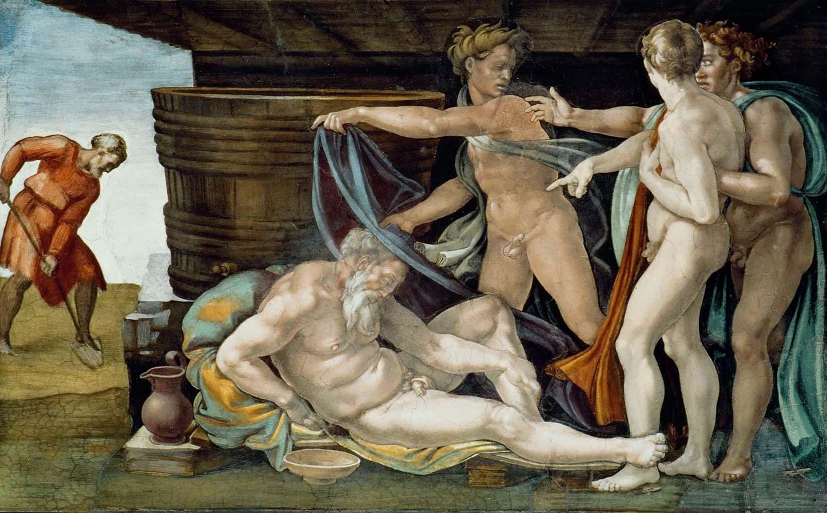 """Микеланджело Буонарроти (Michelangelo Buonarroti), """"Опьянение Ноя (Фреска)"""""""