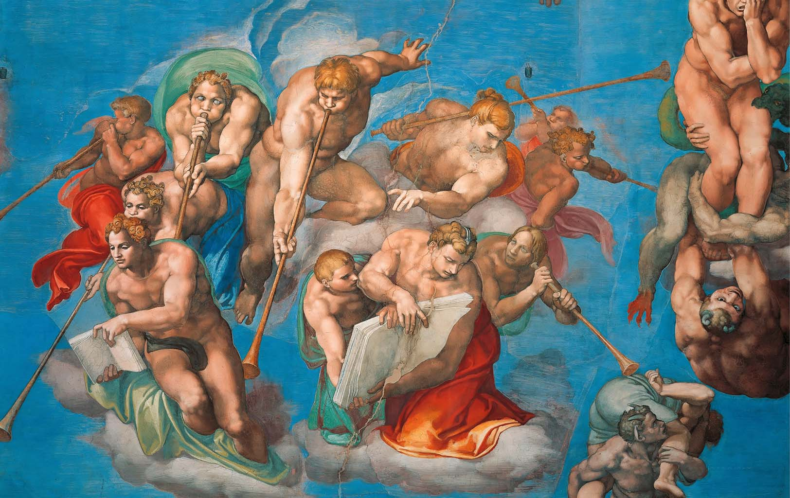 "Микеланджело Буонарроти (Michelangelo Buonarroti), ""Страшный суд (фрагмент фрески - 1)"""