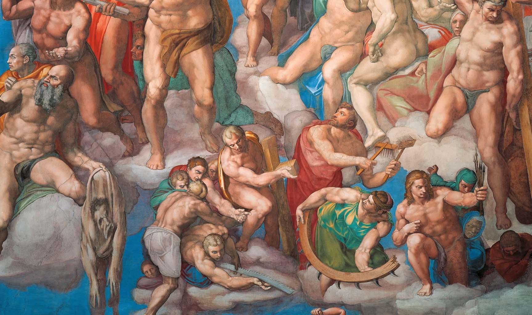 "Микеланджело Буонарроти (Michelangelo Buonarroti), ""Страшный суд (фрагмент фрески - 2)"""