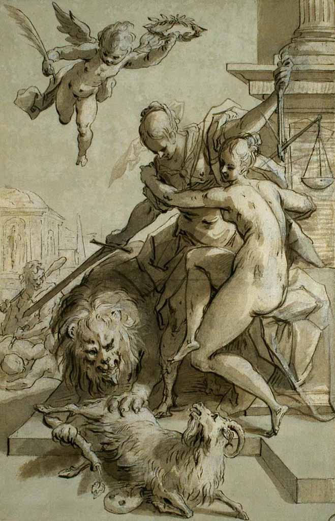 """Ханс фон Аахен (Hans von Aachen) """"Der Sieg der Wahrheit unter dem Schutz der Gerechtigkeit"""""""