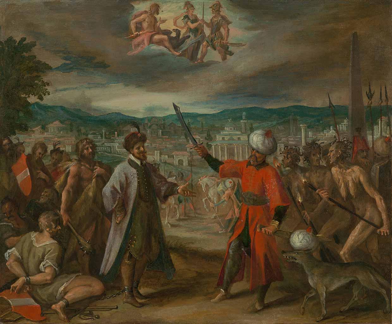"""Ханс фон Аахен (Hans von Aachen) """"Five Allegories of the Turkish Wars: Declaration of War before Constantine"""""""