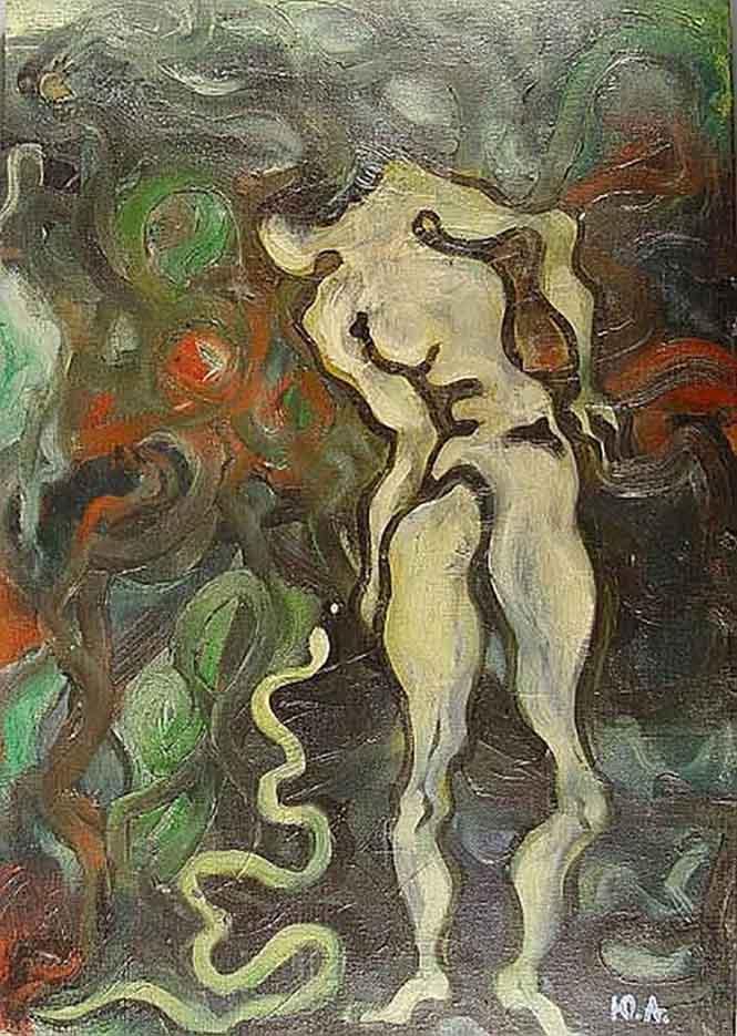 "Юрий Анненков (Yuri Annenkov) ""Ева и змей-искуситель | Eve and the tempting serpent"""