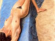 "Авигдор Ариха (Avigdor Arikha) ""Обнаженная на голубом фоне | Nude on a blue background"""
