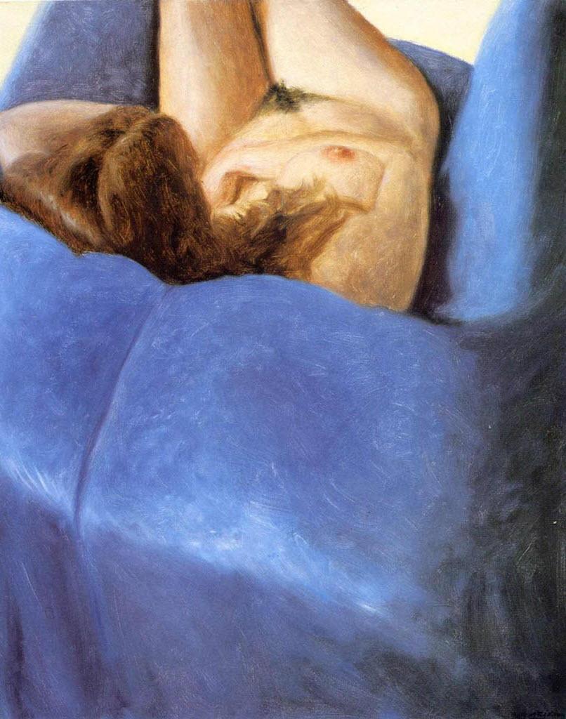 "Авигдор Ариха (Avigdor Arikha) ""Обнаженная на голубом кресле | Nude on a blue chair"""