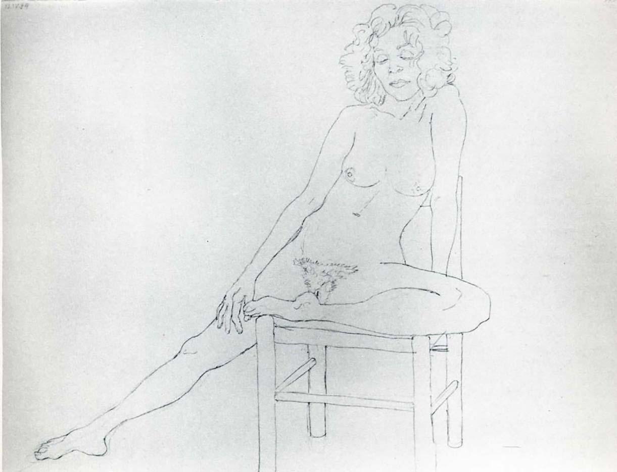 "Авигдор Ариха (Avigdor Arikha) ""Обнаженная на табуретке | Nude on a stool"""