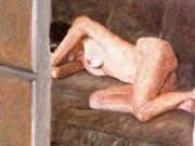 "Авигдор Ариха (Avigdor Arikha) ""Обнаженная на диване (2) | Sleeping Nude and Indian Rug"""