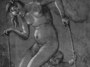 "Ханс Бальдунг (Hans Baldung) ""Нагая бегунья на шарах в сопровождении путто | Naked runner on balloons, accompanied by a putto"""