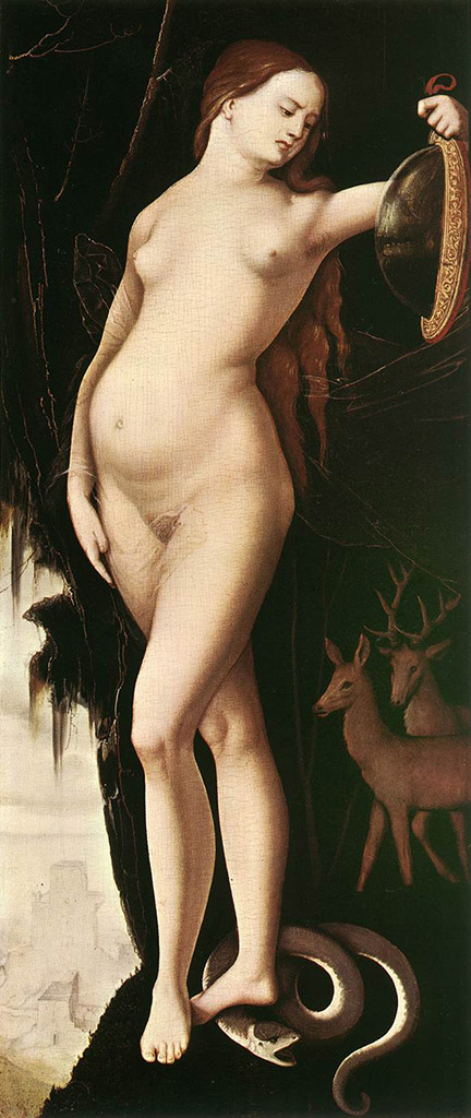"Ханс Бальдунг (Hans Baldung) ""Allegorical figure of a woman with mirror, serpent, stag and dog"""