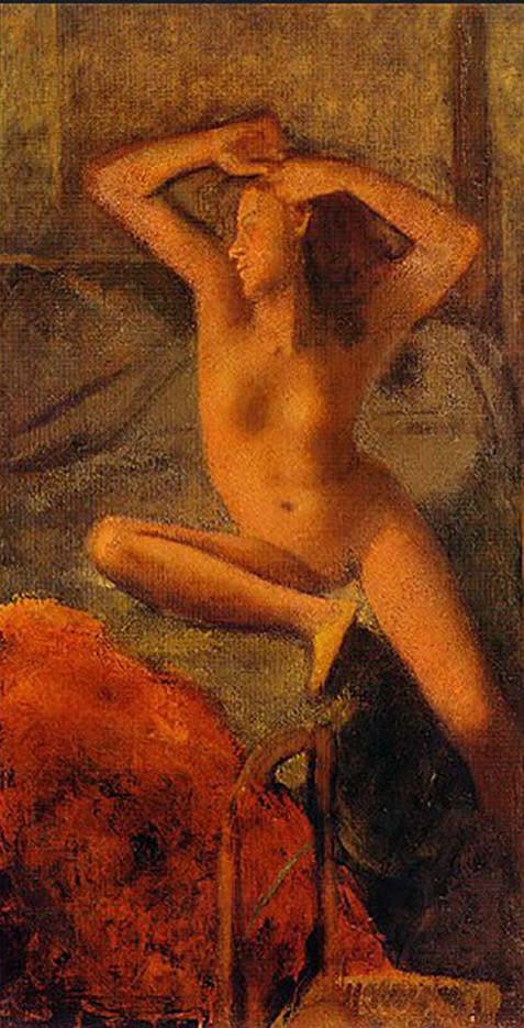 "Бальтюс (Бальтазар Клоссовски де Рола), Balthus (Balthasar Kłossowski de Rola) ""Nude with her arms raised"""