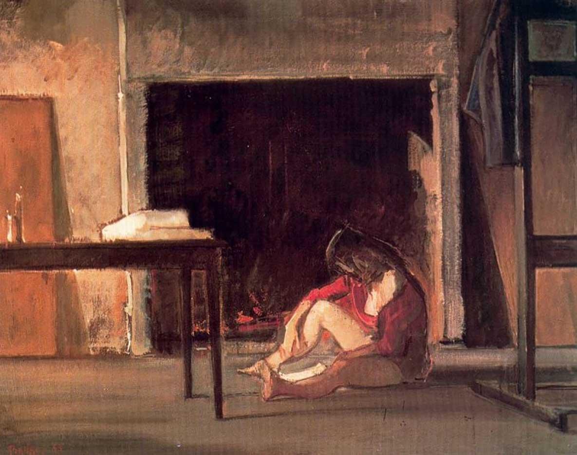 "Бальтюс (Бальтазар Клоссовски де Рола), Balthus (Balthasar Kłossowski de Rola) ""Chassy by the fireplace at workshop"""