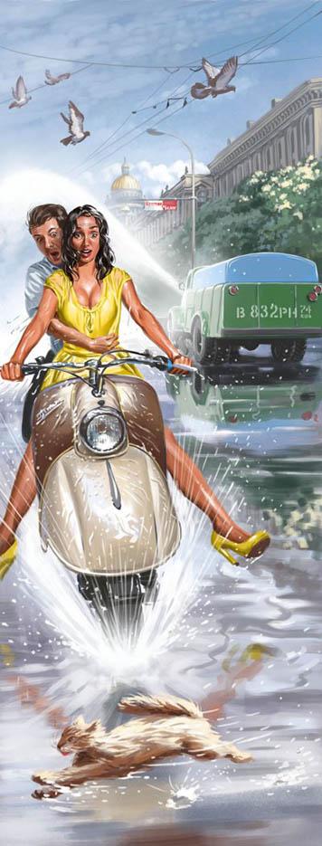 "Валерий Барыкин (Valery Barykin) ""Девушка на мотороллере | Girl on a motor scooter"""
