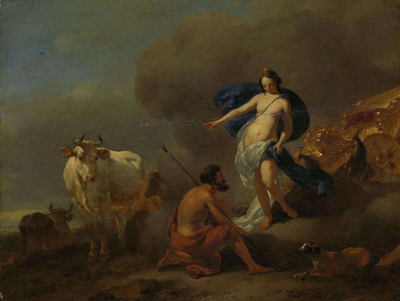 "Николас Питерс Берхем (Nicolaes Pieterszoon Berchem) ""Juno geeft Argus opdracht Io te bewaken"""