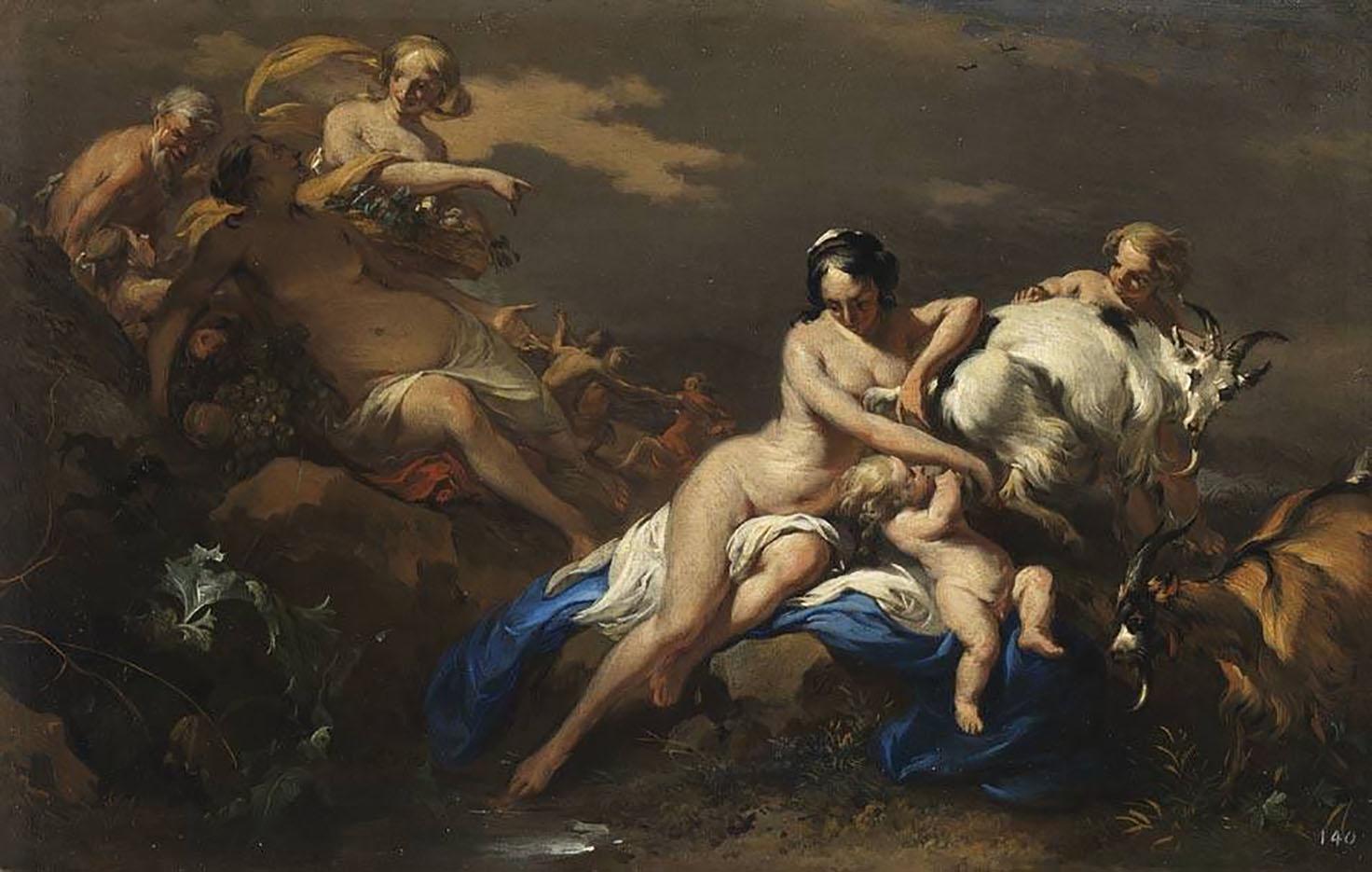 """Николас Питерс Берхем (Nicolaes Pieterszoon Berchem) """"Jupiter von Nymphen gepflegt"""""""