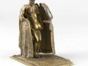 """Франц Ксавьер Бергман (Franz Xavier Bergman) """"Bronze mit Kaltbemalung, Orientale mit Katze, mit Federspannung aufklappbar, unter dem Mantel wird eine nackte Frau sichtbar"""""""