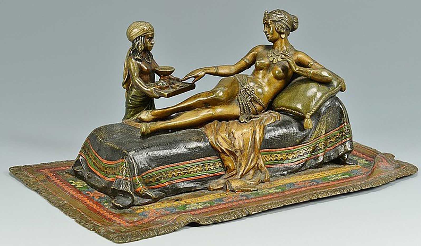 "Франц Ксавьер Бергман (Franz Xavier Bergman) ""Cold Painted Bronze Cleopatra"""