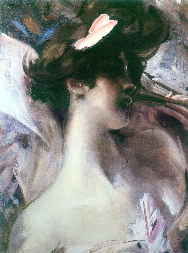 """Джованни Больдини (Giovanni Boldini), """"Головка девушки на розовом фоне"""""""