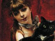 "Джованни Больдини (Giovanni Boldini), ""The Girl with a Black Cat"""