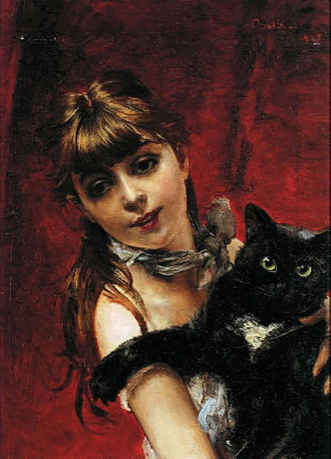 "Джованни Больдини (Giovanni Boldini), ""The Girl with a Black Cat"""