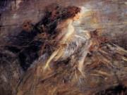 "Джованни Больдини (Giovanni Boldini), ""Portrait of the Marquise with peacock pens"""