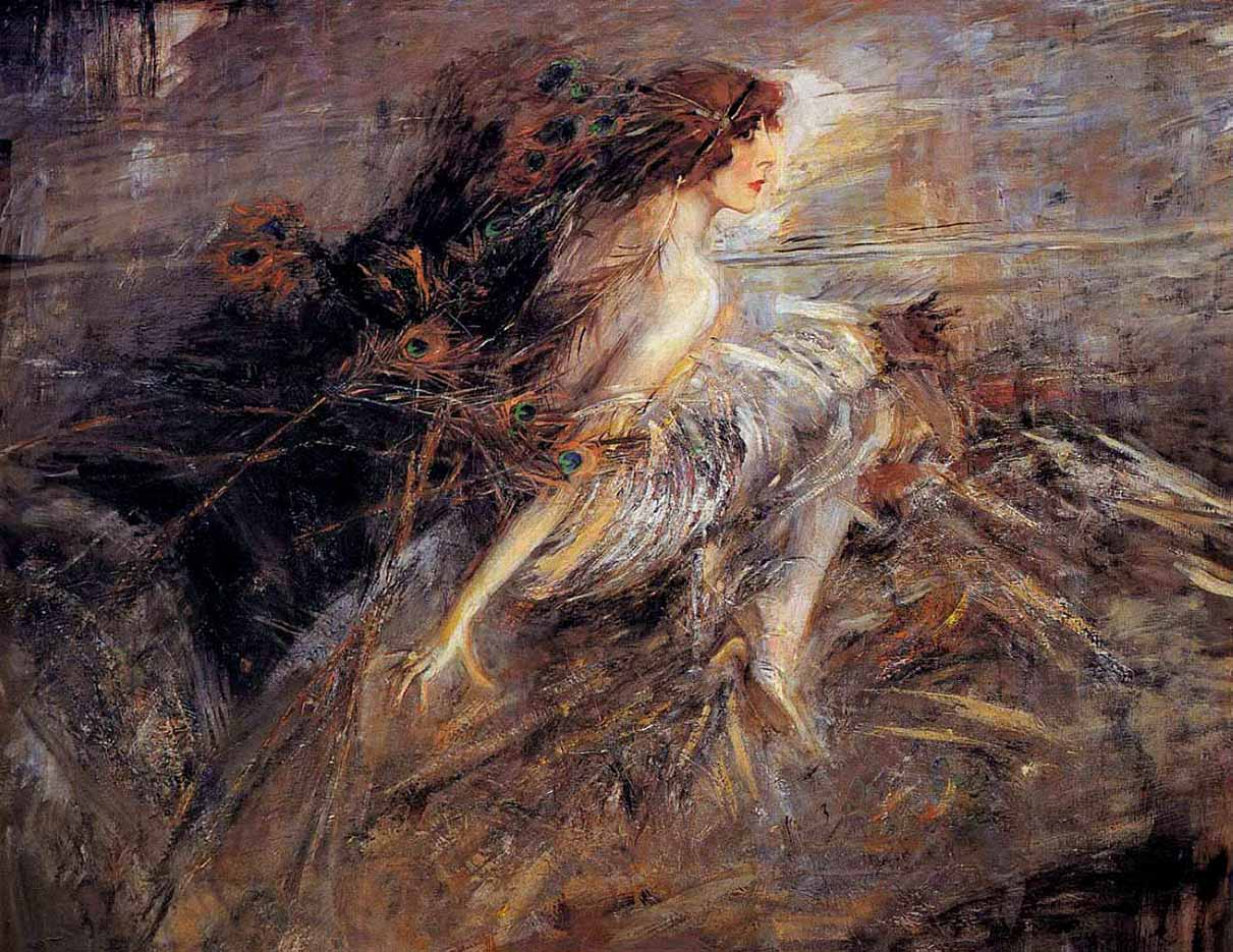 "Джованни Больдини (Giovanni Boldini), ""Portrait of the Marquise with peacock pens"""