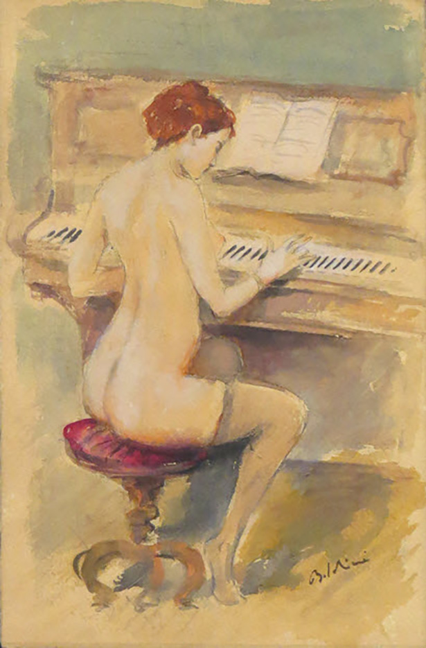 "Джованни Больдини (Giovanni Boldini), ""Nude Woman Playing Piano"""