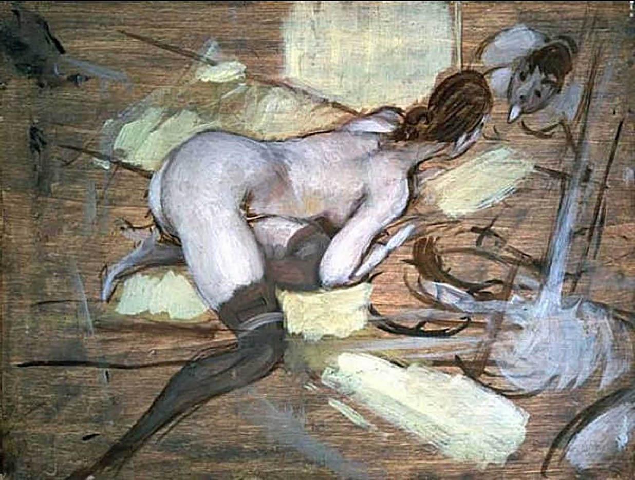 """Джованни Больдини (Giovanni Boldini), """"Обнаженная женщина, отдыхающая на желтых подушках"""""""