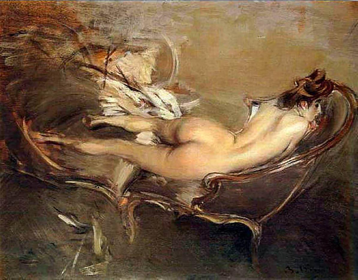"""Джованни Больдини (Giovanni Boldini), """"Обнаженная, отдыхающая на дневном ложе"""""""