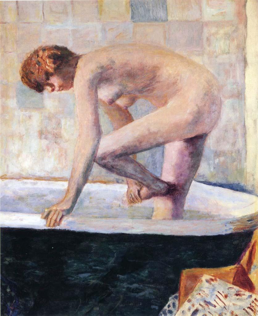 "Пьер Боннар (Pierre Bonnard) ""Nude Washing Feet in a Bathtub (Nu rose a la baignoire)"""