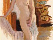 "Пьер Боннар (Pierre Bonnard) ""Standing Nude with Striped Armchair"""