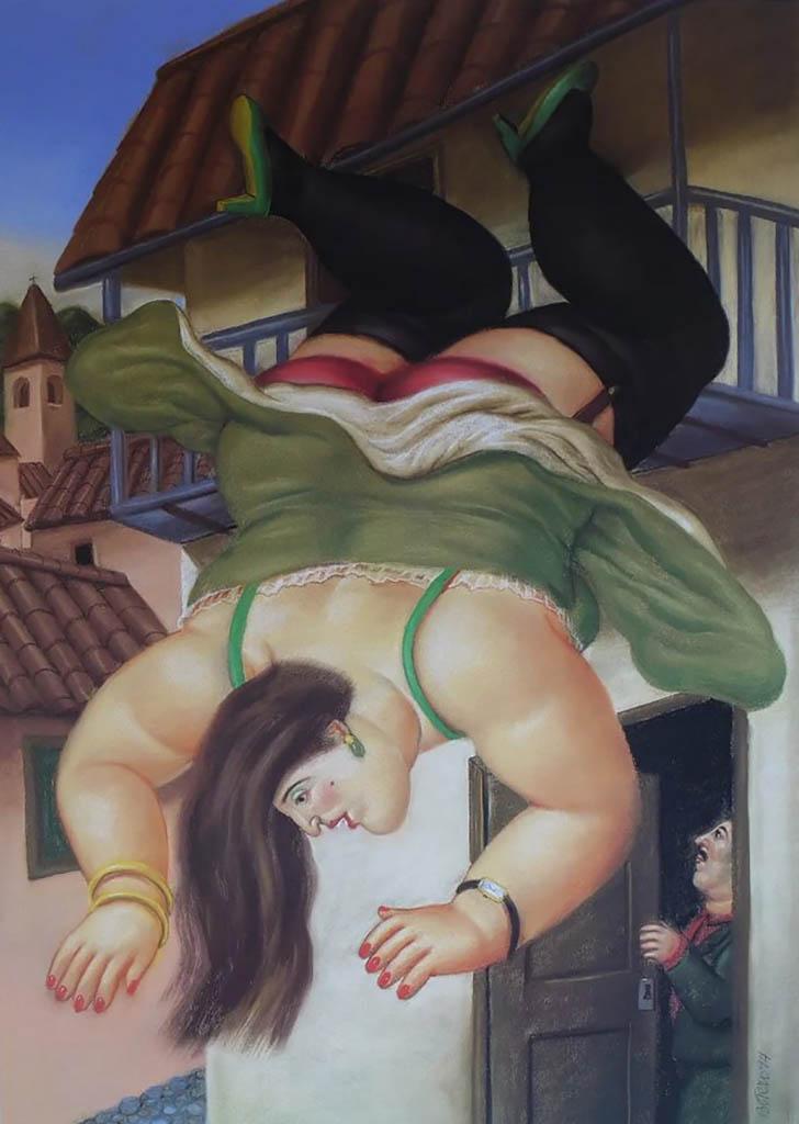 "Фернандо Ботеро (Fernando Botero) ""Женщина падающая с балкона | Woman falling from balcony"""