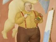 "Фернандо Ботеро (Fernando Botero) ""Автопортрет с ангелом-хранителем | Self-portrait with guardian angel"""