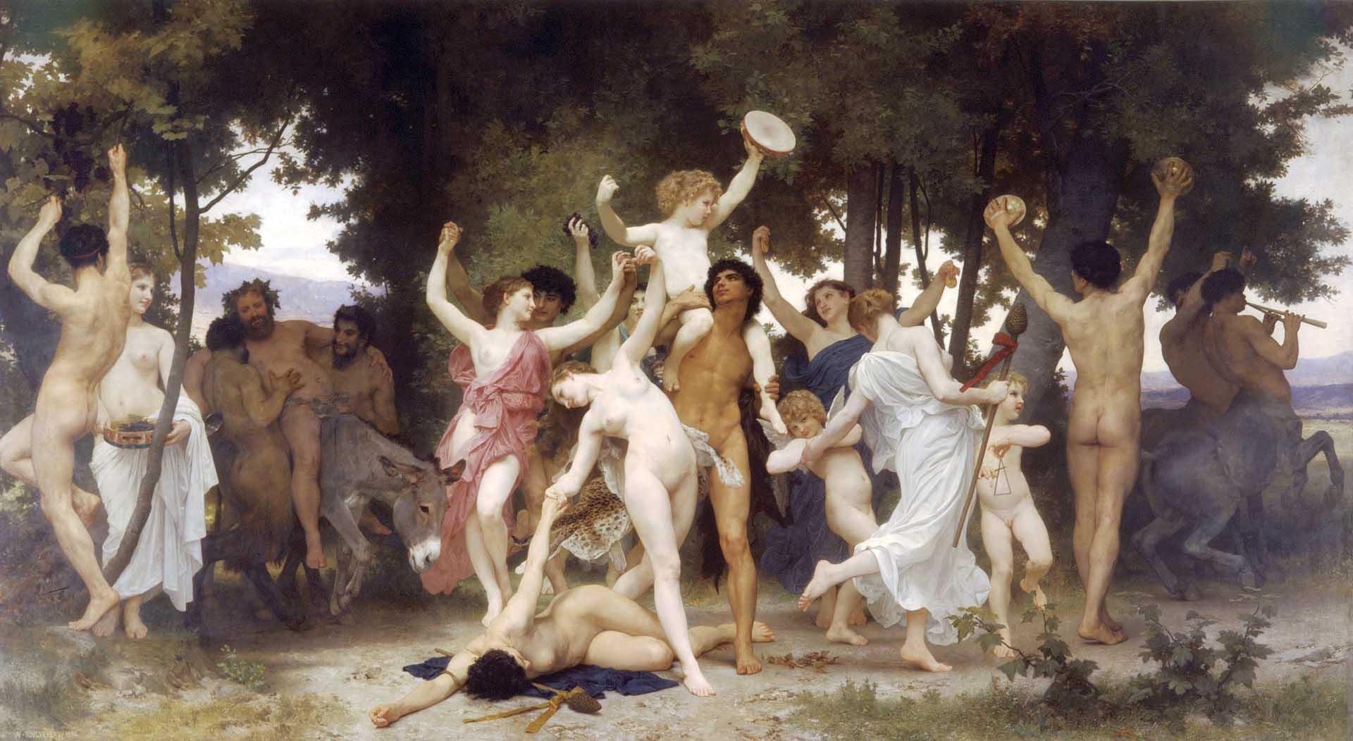 "Вильям Адольф Бугро (William Adolphe Bouguereau) ""Молодость Вакха | Early life of Bacchus"""