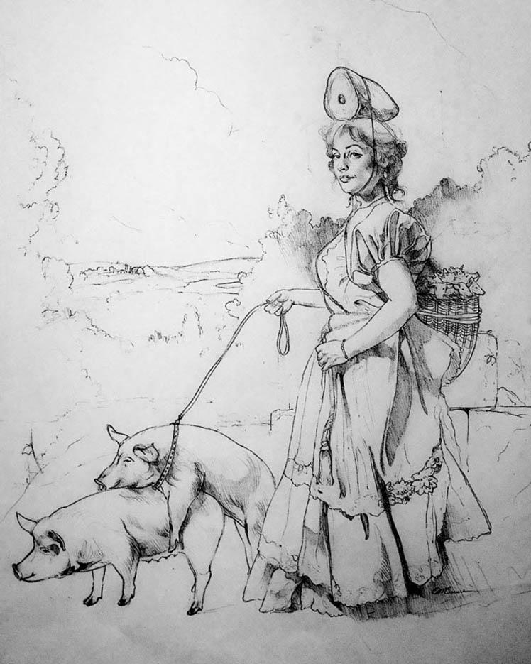 """Дэвид Бауэрс (David Bowers) """"Drawing for The Pig Walker"""""""