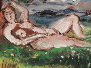 "Давид Бурлюк (David Burliuk) ""Reclining nude in a landscape"""