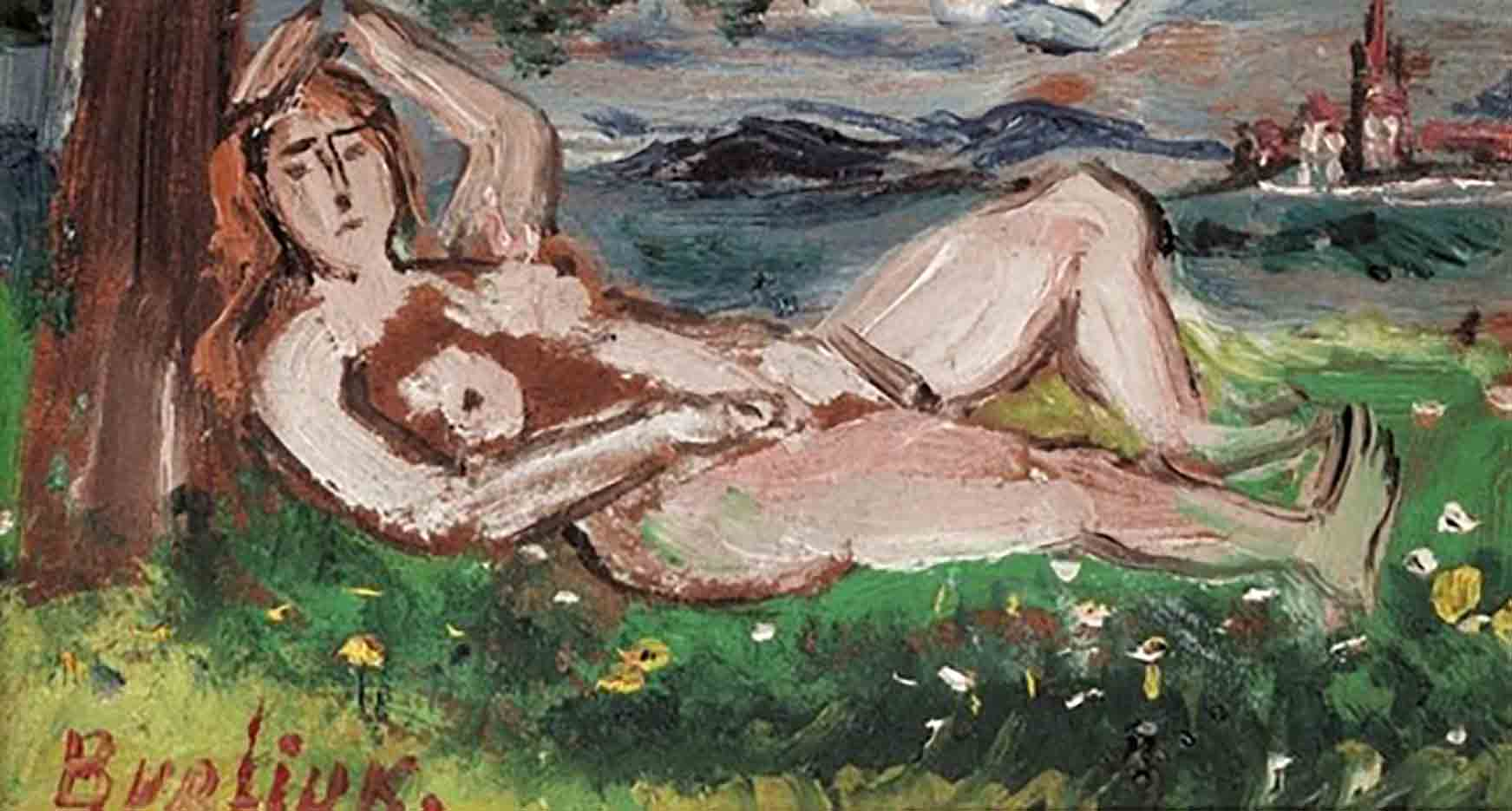 "Давид Бурлюк (David Burliuk) ""Reclining nude in a landscape"""