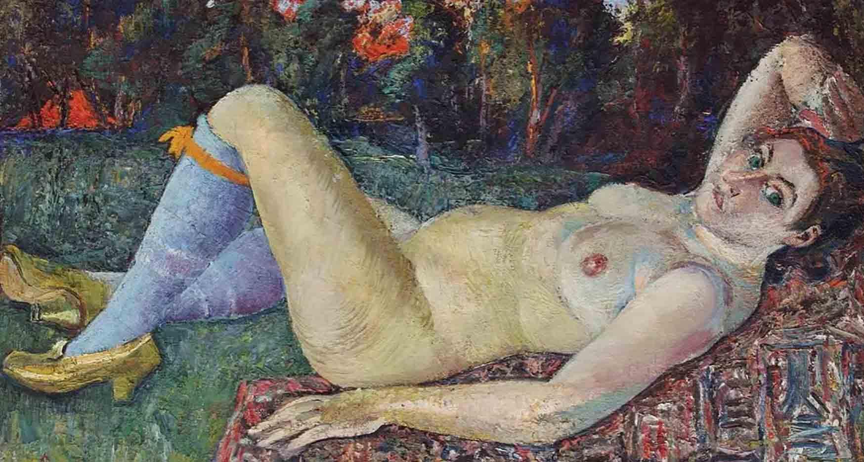 "Давид Бурлюк (David Burliuk) ""Этюд обнаженной женской натуры | Study of a nude female nature"""