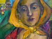 "Давид Бурлюк (David Burliuk) ""Woman with yellow scarf"""
