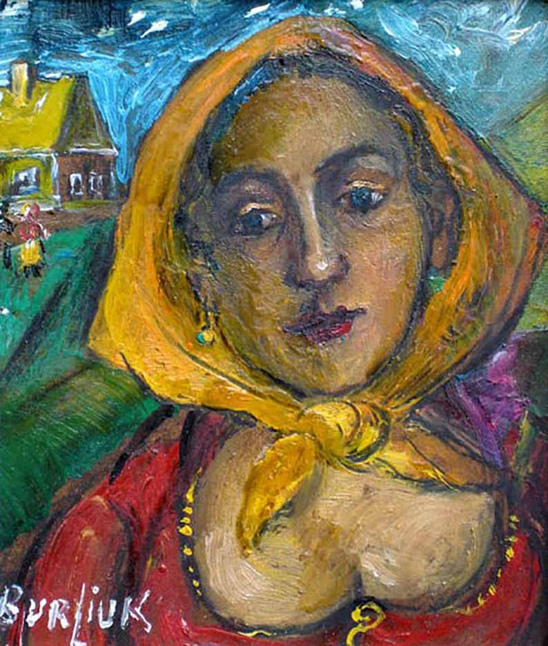 "Давид Бурлюк (David Burliuk) ""Woman with yellow scarf"""