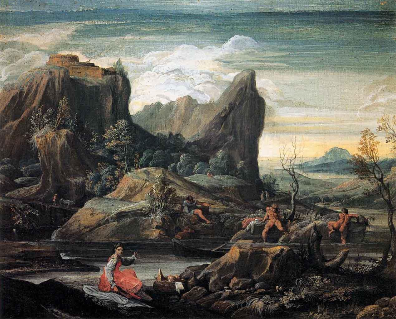 """Агостино Карраччи (Agostino Carracci) """"Landscape with Bathers"""""""