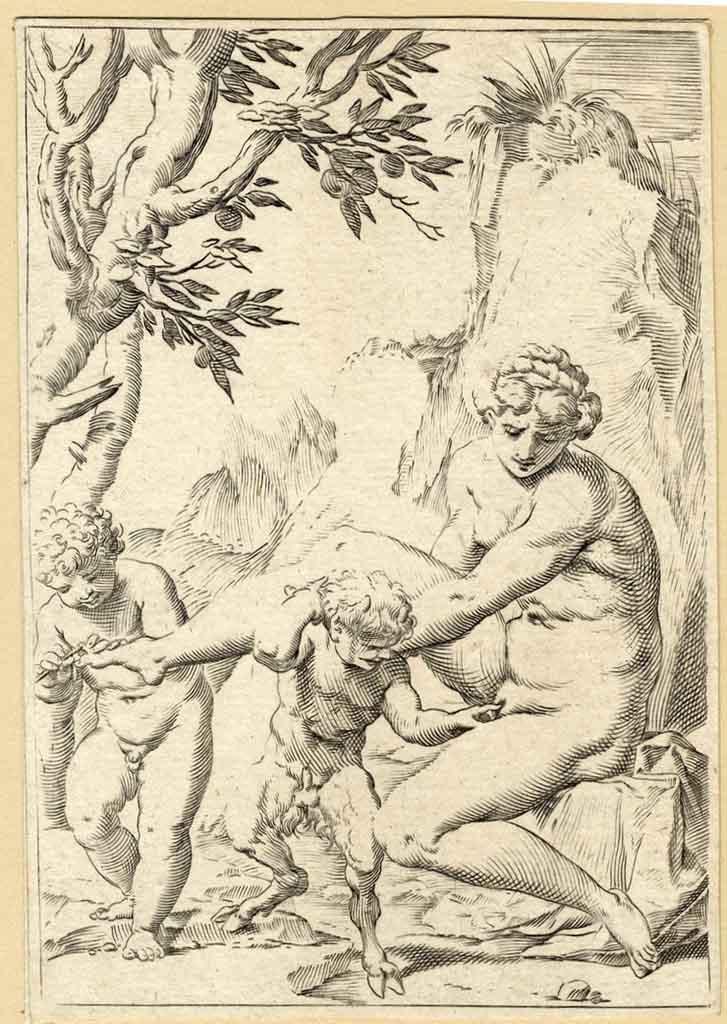"Агостино Карраччи (Agostino Carracci) (Engraves) ""Ninfa satiretto e putto"""