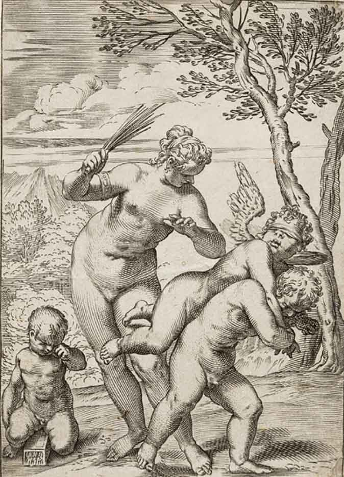 "Агостино Карраччи (Agostino Carracci) (Engraves) ""Venus Punishing Profane Love"""