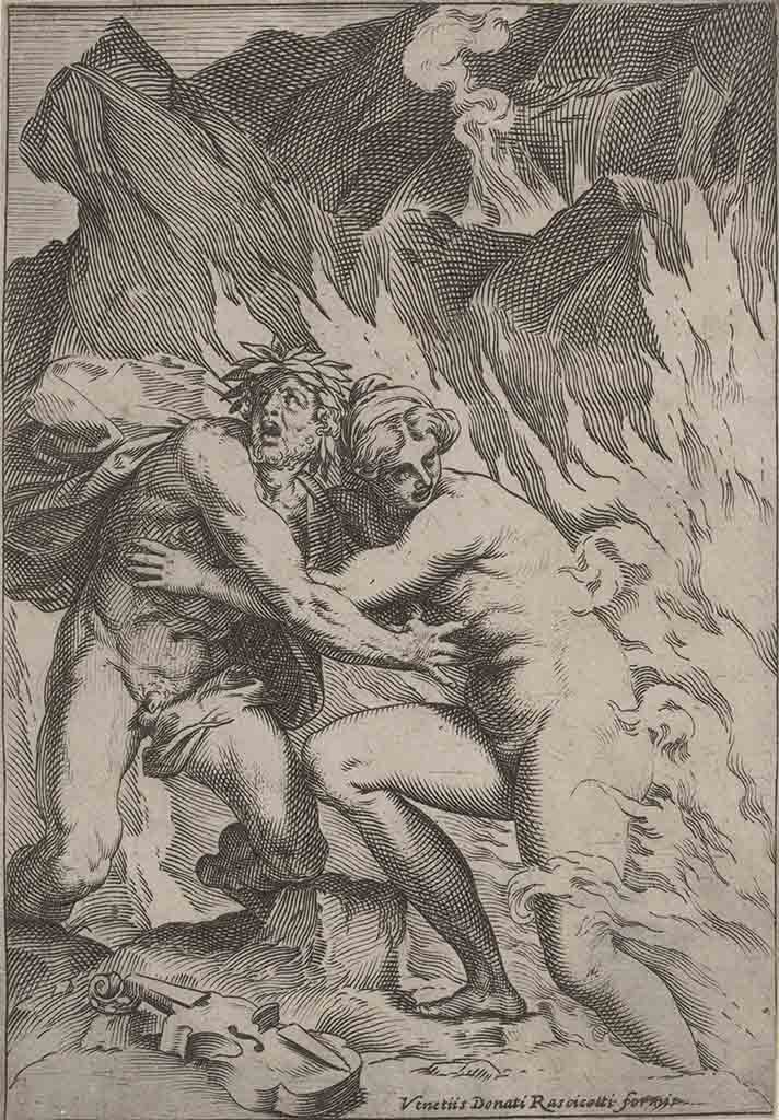 "Агостино Карраччи (Agostino Carracci) (Engraves) ""Orpheus and Eurydice"""