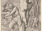 "Агостино Карраччи (Agostino Carracci) (Engraves) ""Satyr whipping a nymph, who is shown from behind and bound to a tree, a second satyr bearing a club stands in the middle ground"""
