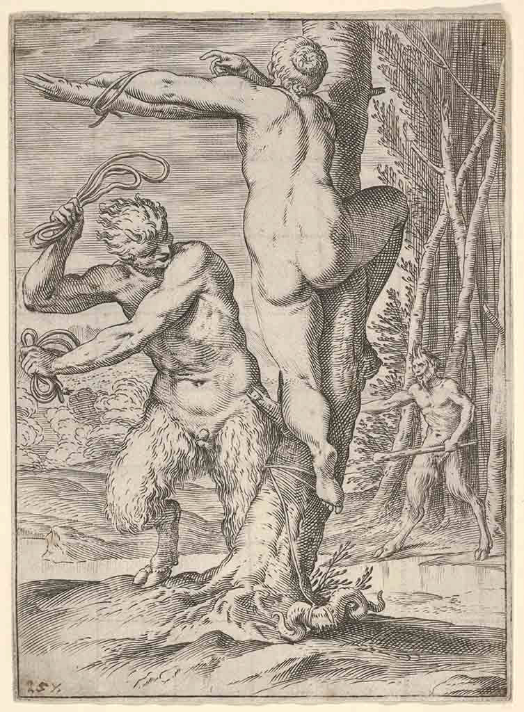 """Агостино Карраччи (Agostino Carracci) (Engraves) """"Satyr whipping a nymph, who is shown from behind and bound to a tree, a second satyr bearing a club stands in the middle ground"""""""
