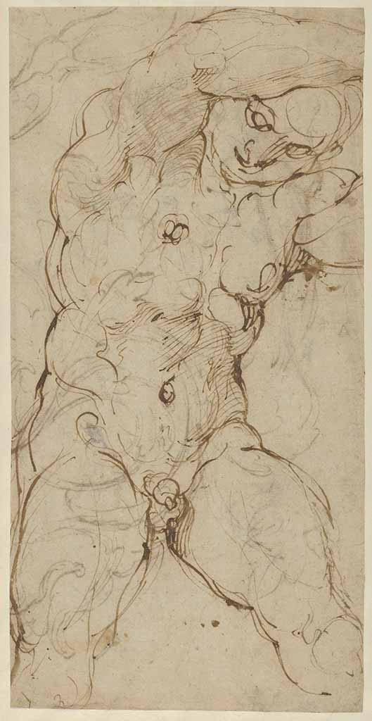 """Агостино Карраччи (Agostino Carracci) (Engraves) """"Seated Nude Male Figure"""""""