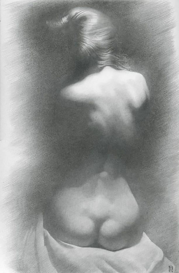 """Денис Чернов (Denis Chernov), рисунок, """"Модель на тёмном фоне II"""""""