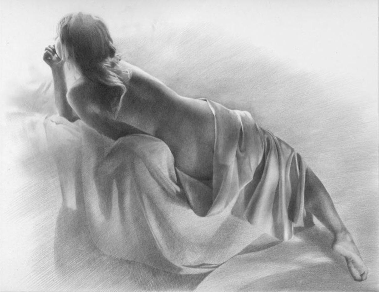 """Денис Чернов (Denis Chernov), рисунок, """"Модель в драпировках"""""""